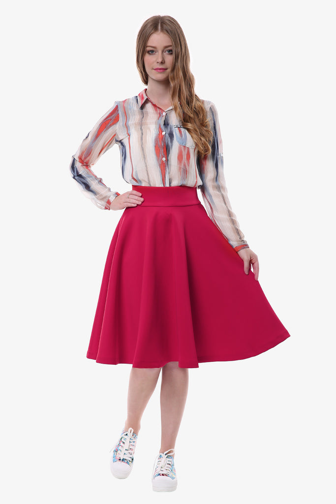 60s Vintage Midi Skater Skirt In Red