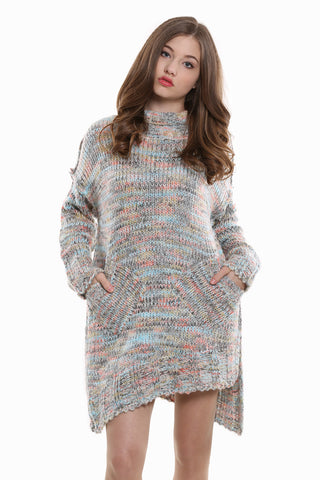 Vintage Asymmetrical Knitted Dress In Gray