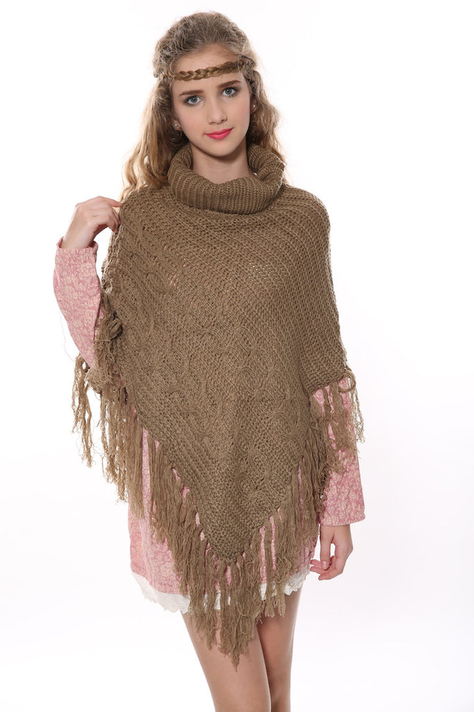 Vintage Cowl Neck Knit Poncho In Tan