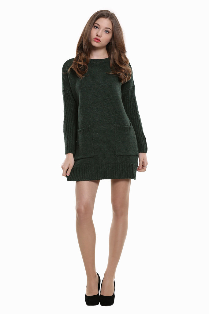 Retro Style Knitted Dress In Green