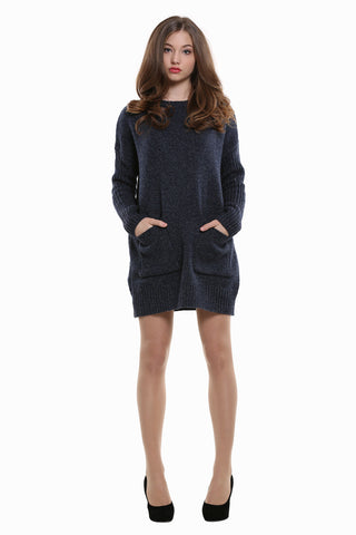 Retro Style Knitted Dress In Navy