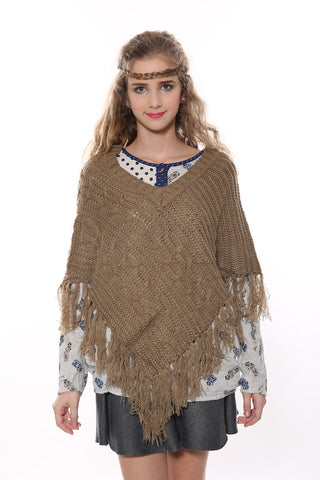 Vintage V-neck Tan Poncho
