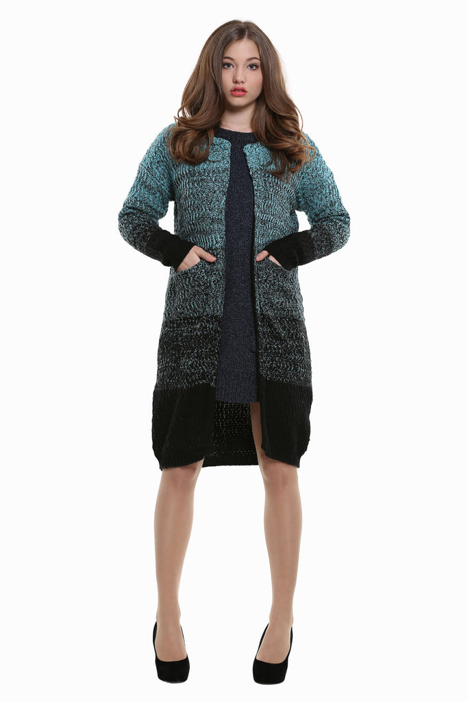 Variegated Blue Chunky Knit Cardigan