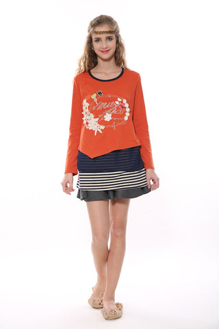 Layered Long Sleeve Tunic In Orange