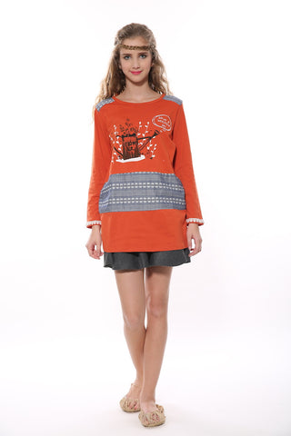 Retro Patchwork Tunic In Orange