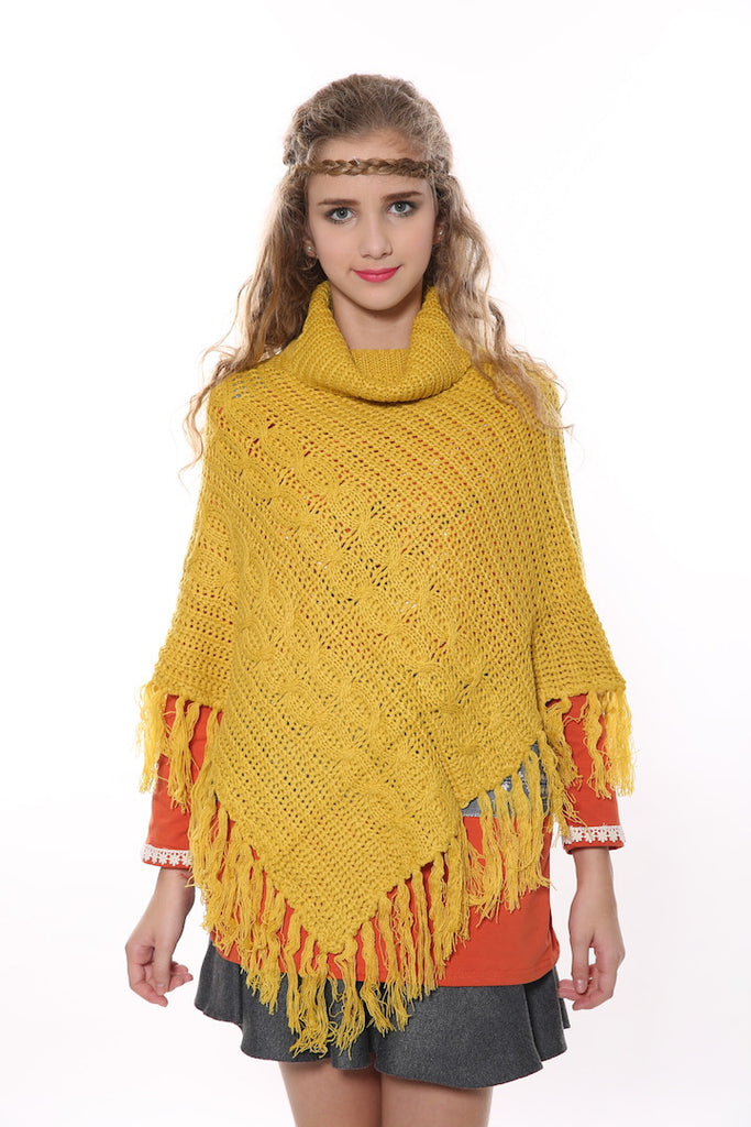Vintage Cowl Neck Knit Poncho In Yellow