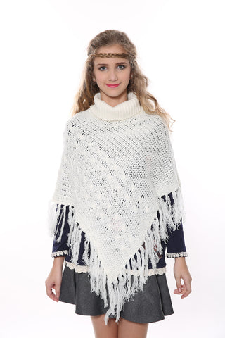 Boho Knit Poncho In White