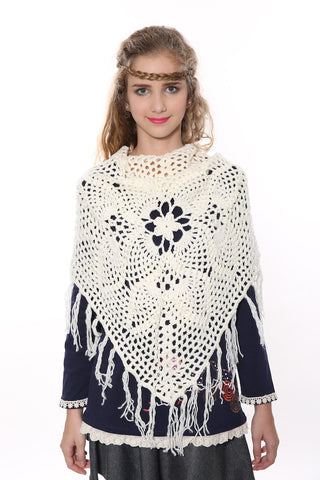 Retro Floral White Knit Poncho