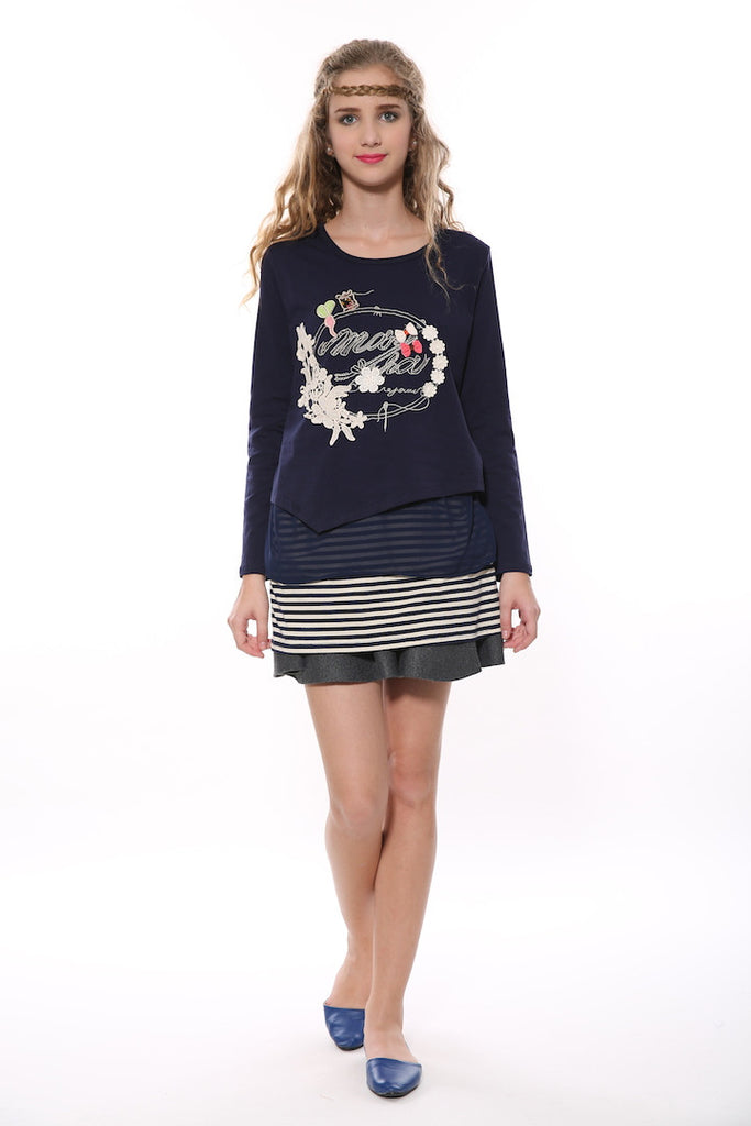 Layered Long Sleeve Tunic In Navy