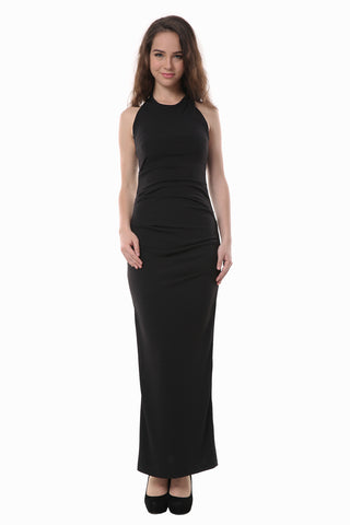 Slim Fit Sexy Black Backless Maxi Dress