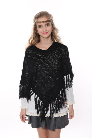 Vintage V-neck Black Poncho