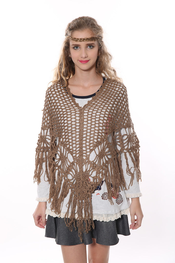 Retro Granny Square Poncho In Tan