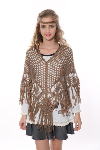 Retro Square Poncho In Tan