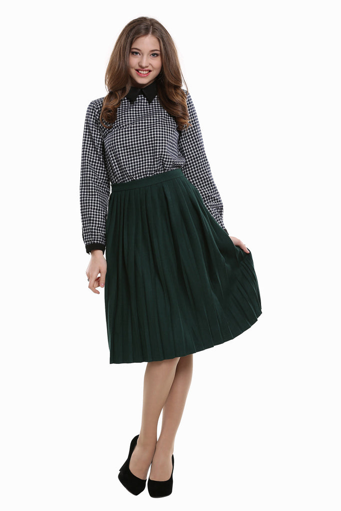 Pleated High Waist Skirt In Green