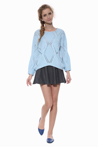Hollow Cute Blue Knit Sweater