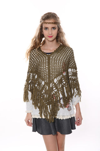 Retro Square Poncho In Green