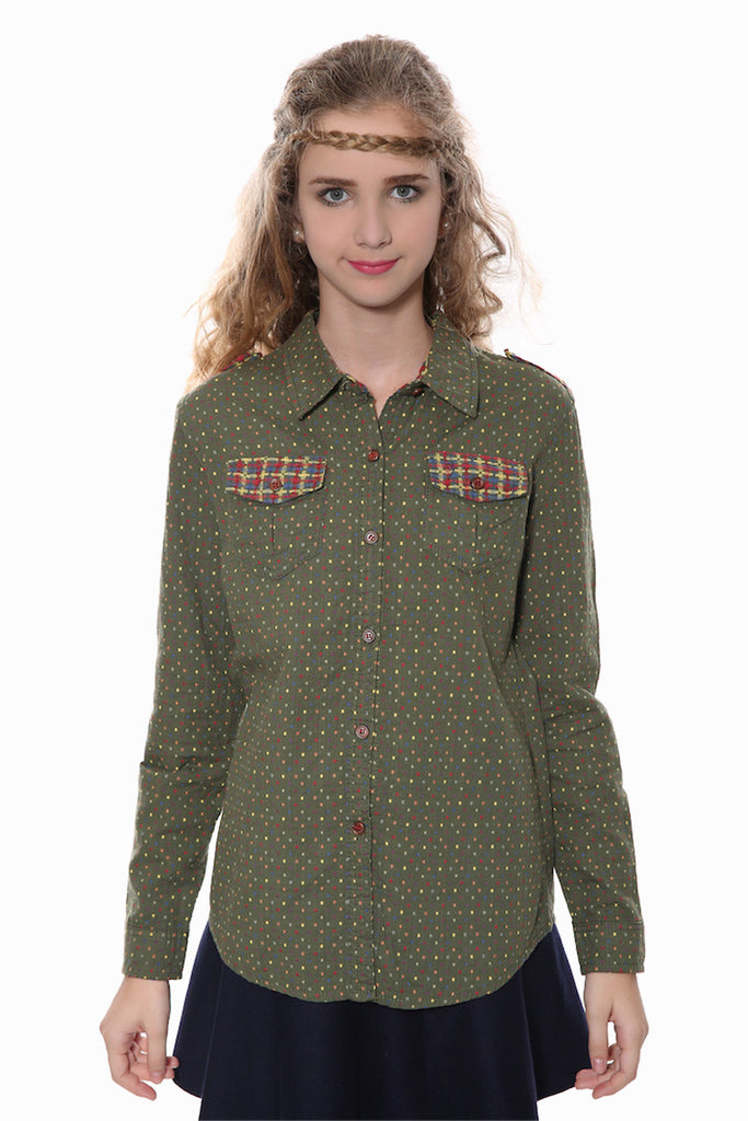 Vintage Polka Dots Shirt In Green