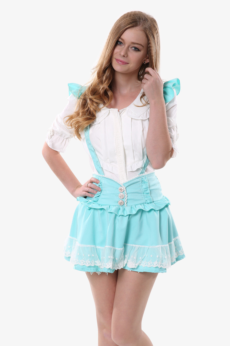 Ruffled Mint Suspender Skirt