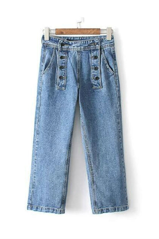 Vintage Double-breasted Wide Leg Jeans