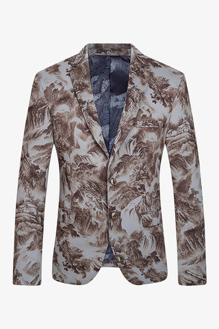 Nature Scene Printed Jacket In Light Gray