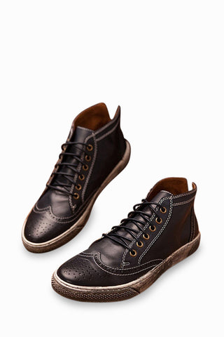 Vintage Brogue Boots In Black