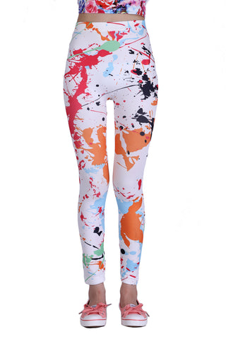 Paint Splash Leggings In White