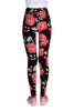 Fuschia Floral Leggings In Black
