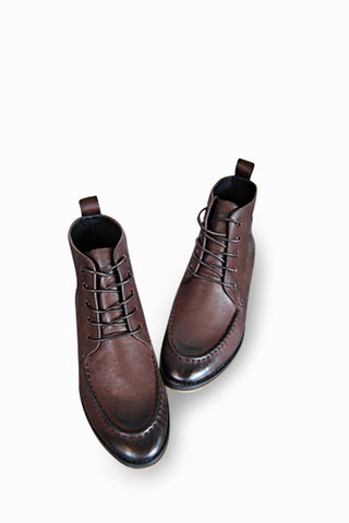 Brown Leather High Top Boots