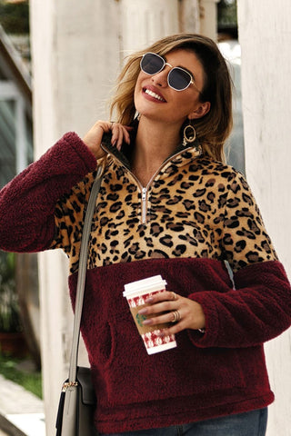 Sherpa Burgundy Leopard Cosy Zip Sweater