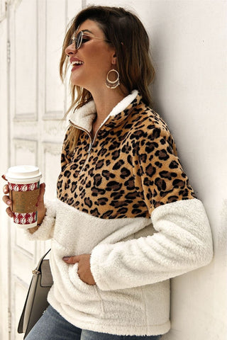 Leopard print brown sherpa women's sweater pullover