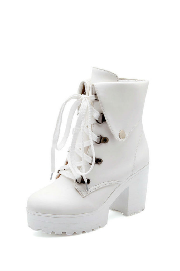 White Lace Up Heeled Boots