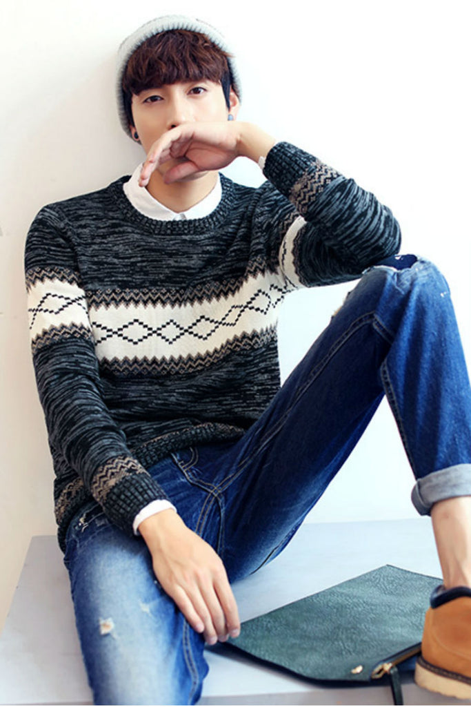Geo Pattern Knitted Sweater