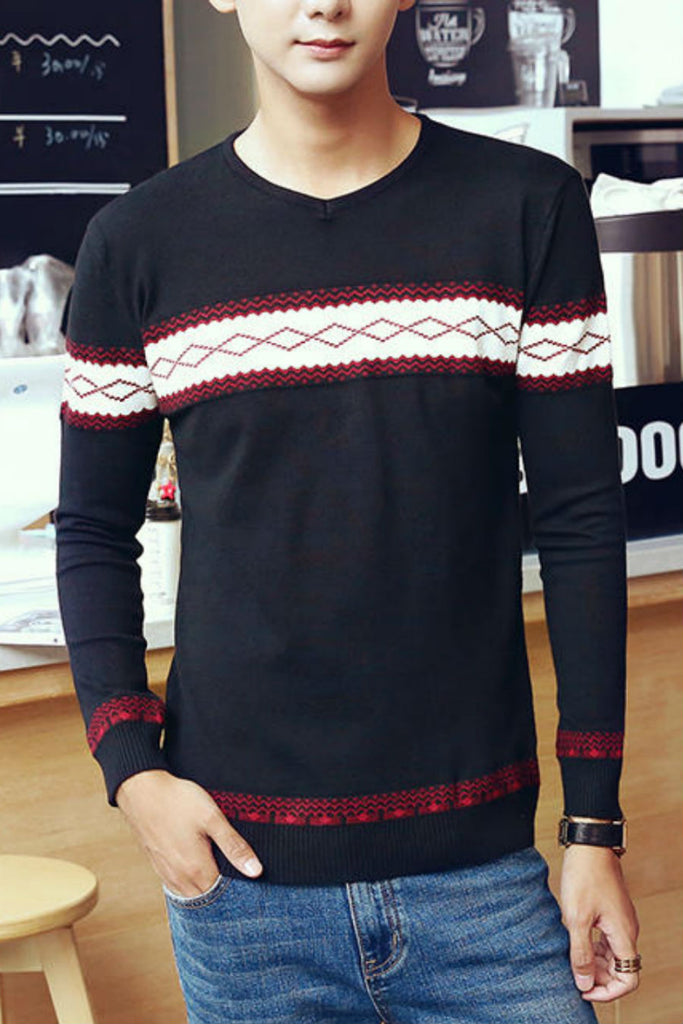 V-neck Geo Knitted Sweater