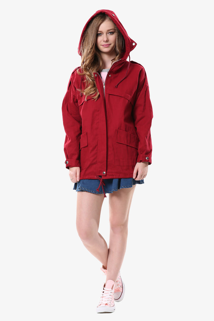 Burgundy Hooded Military Jacket