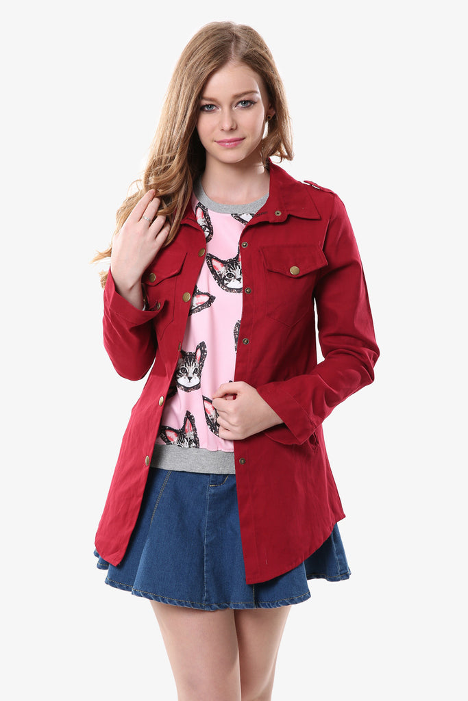 Burgundy Fashion Long Sleeve Jacket
