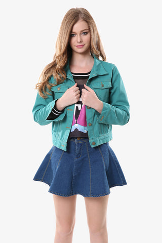 Green Lapel Jean Jacket