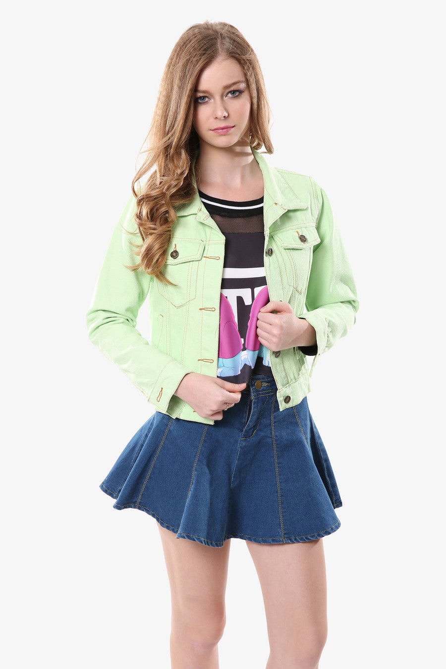 Mint Lapel Jeans Jacket