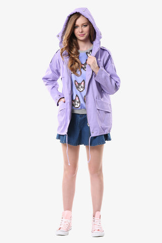 Lilac Hooded Military Jacket
