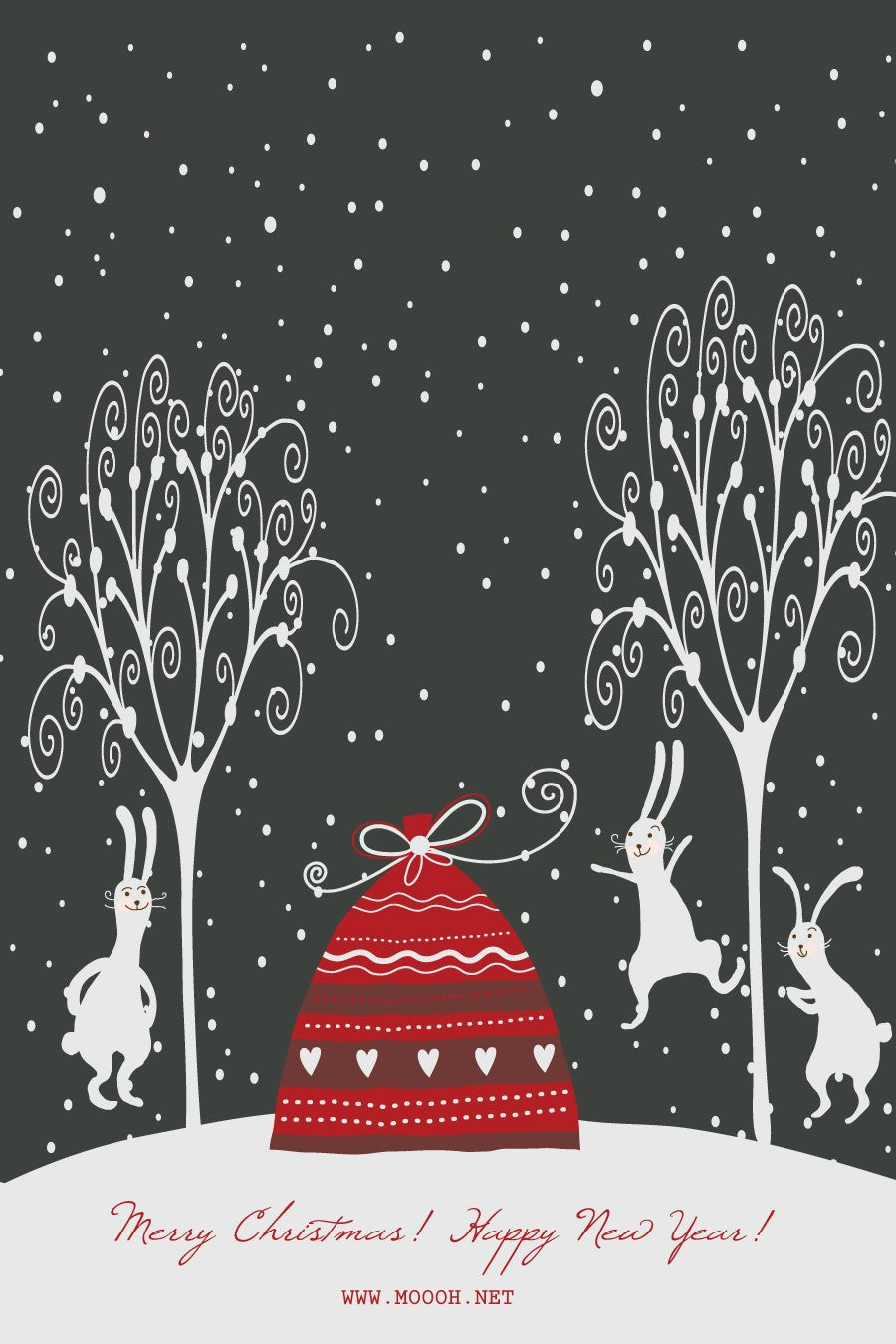 Happy Rabbits Wishing A Merry Christmas Gift Card