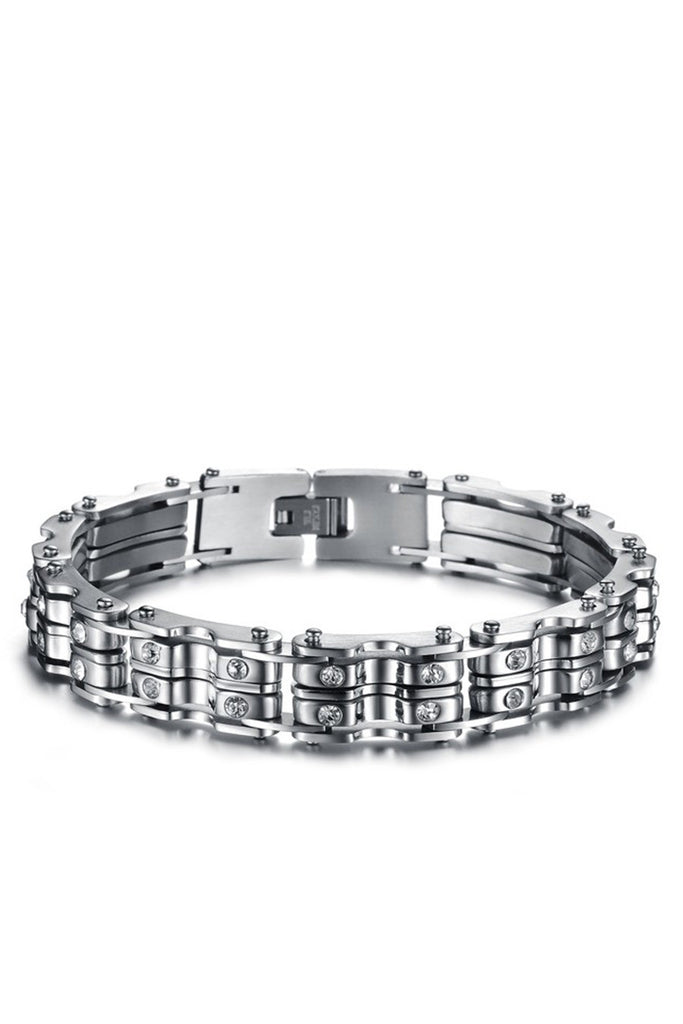 Cz Men's Stainless Steel Bracelet