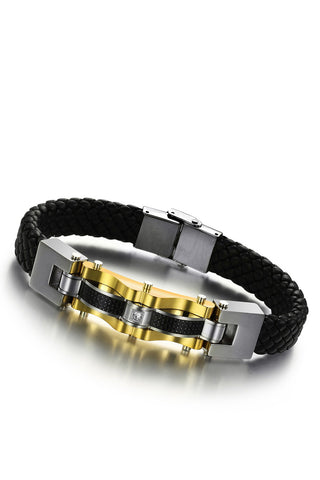 Men's Stainless Steel Leather Bracelet