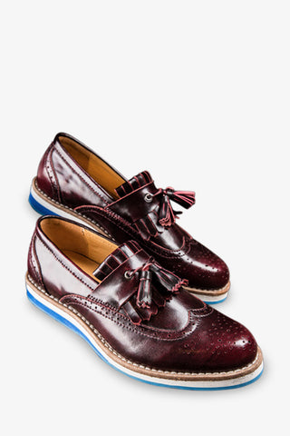 Brogue Tassels Loafers In Burgundy