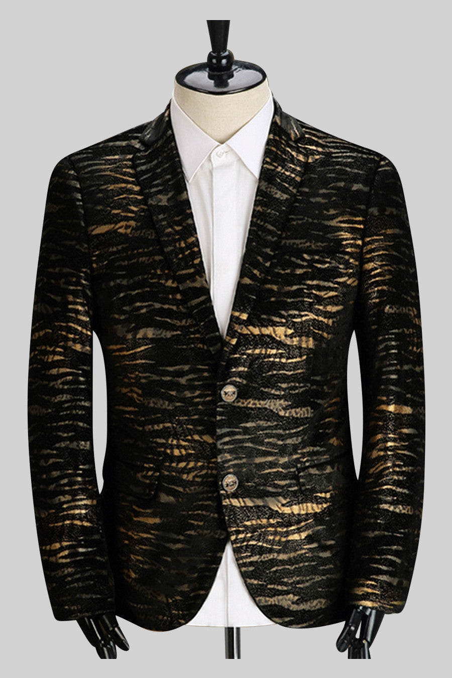 Golden Stripes  Jacket In Black