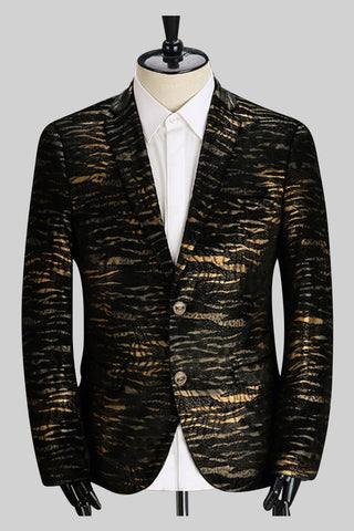 Golden Stripes Print Jacket In Black