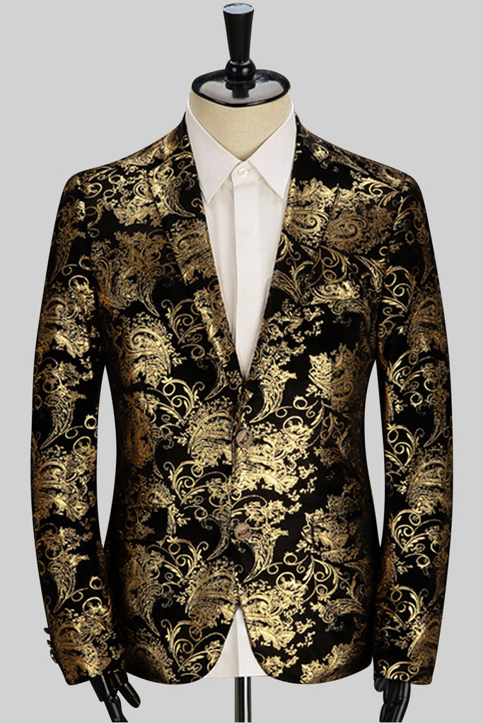 Golden Print Jacket In Black