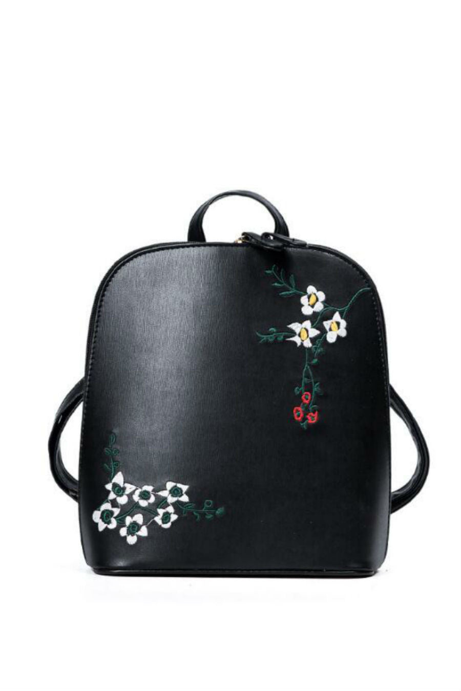 Black Embroidery Mini Backpack