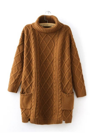 Brown Cable Knitted Sweater