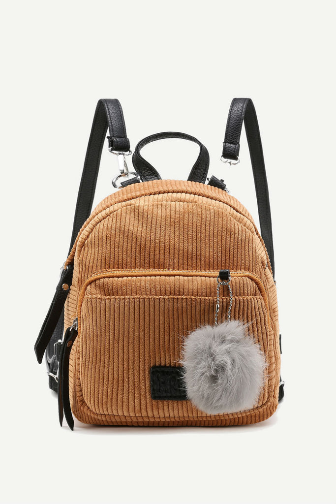 Cute Pom Pom Corduroy Backpack