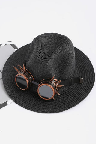 Punk Sunglasses Straw Fedora Hat