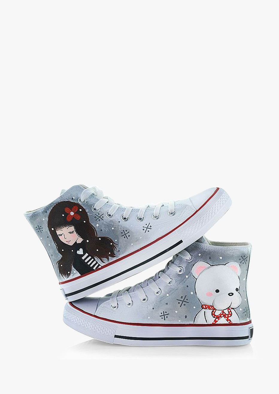 Girl & Bear Painting Sneakers